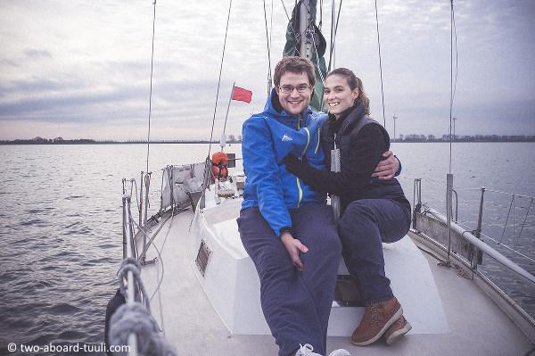 Kristy and Thomas aboard Tuuli