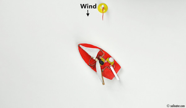 Figure 101: Move the bow through the wind with the remaining speed. The jib keeps on being backwards on the side where it was before.