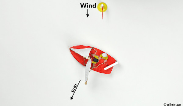 Figure 102: Release the mainsheet and steer windwards delicately. The tiller points leeward when doing so.